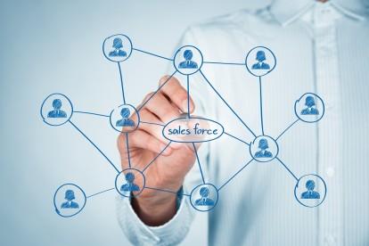 Sales force concept. Businessman draw sales force team scheme.